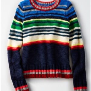 American Eagle Striped Chunky Knit Sweater